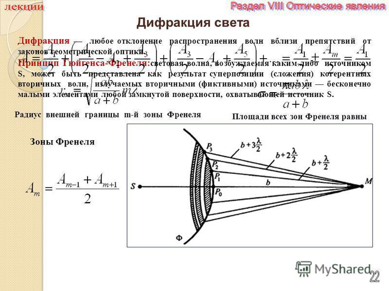 Дифракция света Дифракция любое отклонение распространения волн вблизи препятствий от законов геометрической оптики. Принцип Гюйгенса-Френеля: световая волна, возбуждаемая каким-либо источником S, может быть представлена как результат суперпозиции (с