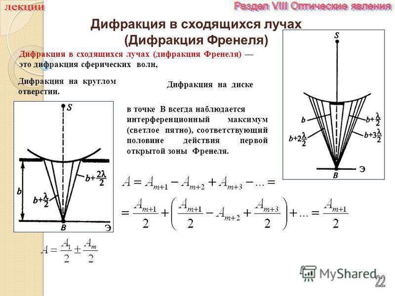 Дифракция в сходящихся лучах (Дифракция Френеля) Дифракция в сходящихся лучах (дифракция Френеля) это дифракция сферических волн, Дифракция на круглом отверстии. Дифракция на диске в точке B всегда наблюдается интерференционный максимум (светлое пятн