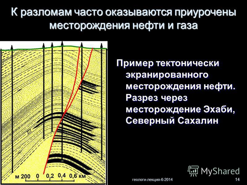 геологи-лекция-6-2014 14 Пример тектонически экранированного месторождения нефти. Разрез через месторождение Эхаби, Северный Сахалин К разломам часто оказываются приурочены месторождения нефти и газа