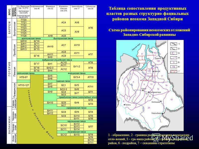 13 Таблица сопоставления продуктивных пластов разных структурно-фациальных районов неокома Западной Сибири Схема районирования неокомских отложений Западно-Сибирской равнины 1 - обрамление, 2 - граница распространения неокомских отло-жений, 3 – гра-н