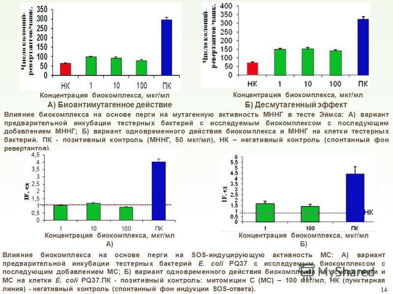 А) Биоантимутагенное действие Б) Десмутагенный эффект Влияние биокомплекса на основе перги на мутагенную активность МННГ в тесте Эймса: А) вариант предварительной инкубации тостерных бактерий с исследуемым биокомплексом с последующим добавлением МННГ