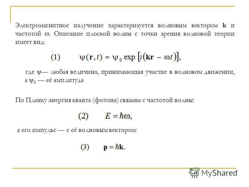 Электромагнитное излучение характеризуется волновым вектором k и частотой ω. Описание плоской волны с точки зрения волновой теории имеет вид: где ψ любая величина, принимающая участие в волновом движении, а ψ 0 её амплитуда По Планку энергия кванта (