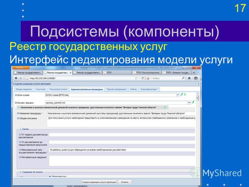 17 Подсистемы (компоненты) Реестр государственных услуг Интерфейс редактирования модели услуги