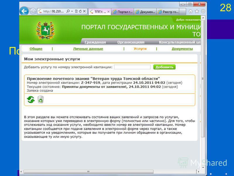 28 Подсистемы (компоненты) Портал государственных услуг
