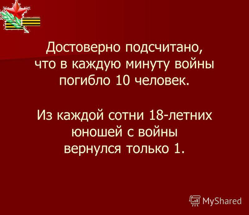 Достоверно подсчитано, что в каждую минуту войны погибло 10 человек. Из каждой сотни 18-летних юношей с войны вернулся только 1.