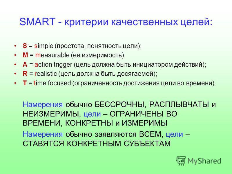 SMART - критерии качественных целей: S = simple (простота, понятность цели); M = measurable (её измеримость); A = action trigger (цель должна быть инициатором действий); R = realistic (цель должна быть досягаемой); T = time focused (ограниченность до