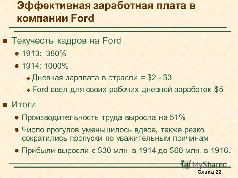 Слайд 22 Эффективная заработная плата в компании Ford Текучесть кадров на Ford 1913: 380% 1914: 1000% Дневная зарплата в отрасли = $2 - $3 Ford ввел для своих рабочих дневной заработок $5 Итоги Производительность труда выросла на 51% Число прогулов у