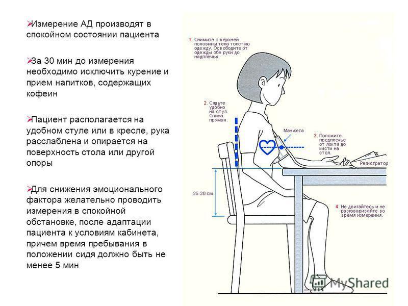 Измерение АД производят в спокойном состоянии пациента За 30 мин до измерения необходимо исключить курение и прием напитков, содержащих кофеин Пациент располагается на удобном стуле или в кресле, рука расслаблена и опирается на поверхность стола или