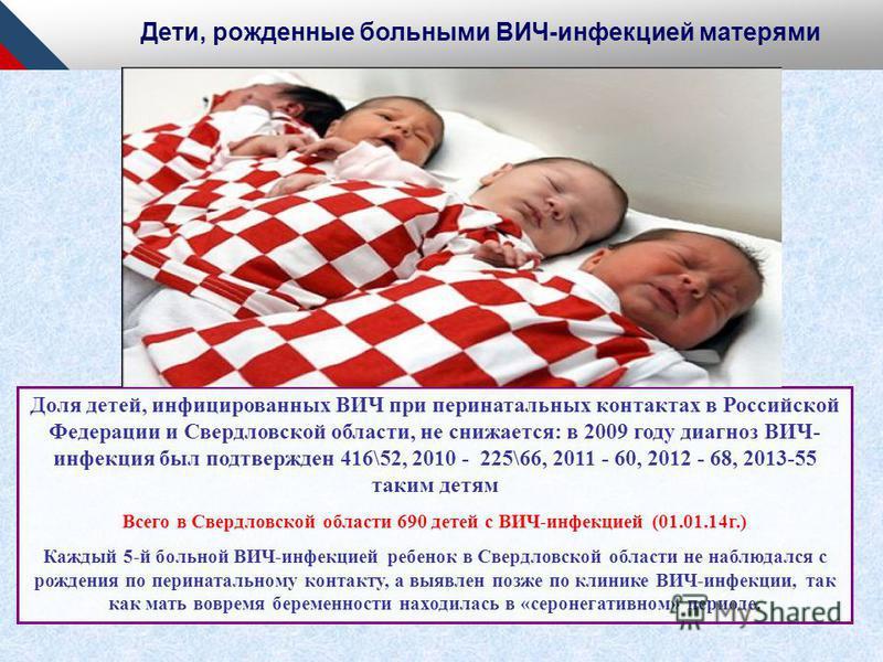 Доля детей, инфицированных ВИЧ при перинатальных контактах в Российской Федерации и Свердловской области, не снижается: в 2009 году диагноз ВИЧ- инфекция был подтвержден 416\52, 2010 - 225\66, 2011 - 60, 2012 - 68, 2013-55 таким детям Всего в Свердло