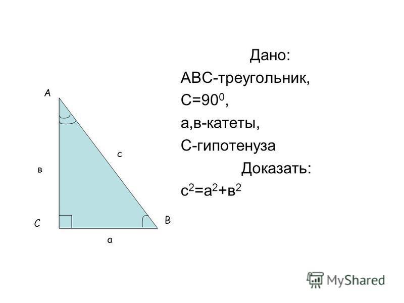 Дано: АВС-треугольник, С=90 0, а,в-катеты, С-гипотенуза Доказать: с 2 =а 2 +в 2 А В С с а в