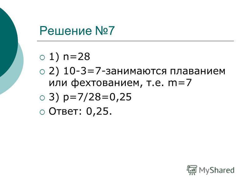 Решение 7 1) n=28 2) 10-3=7-занимаются плаванием или фехтованием, т.е. m=7 3) p=7/28=0,25 Ответ: 0,25.