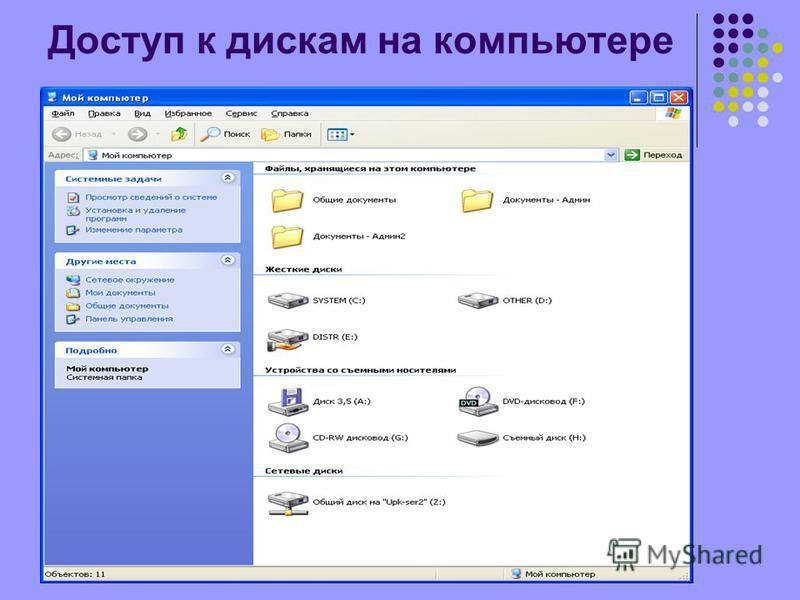 Доступ к дискам на компьютере