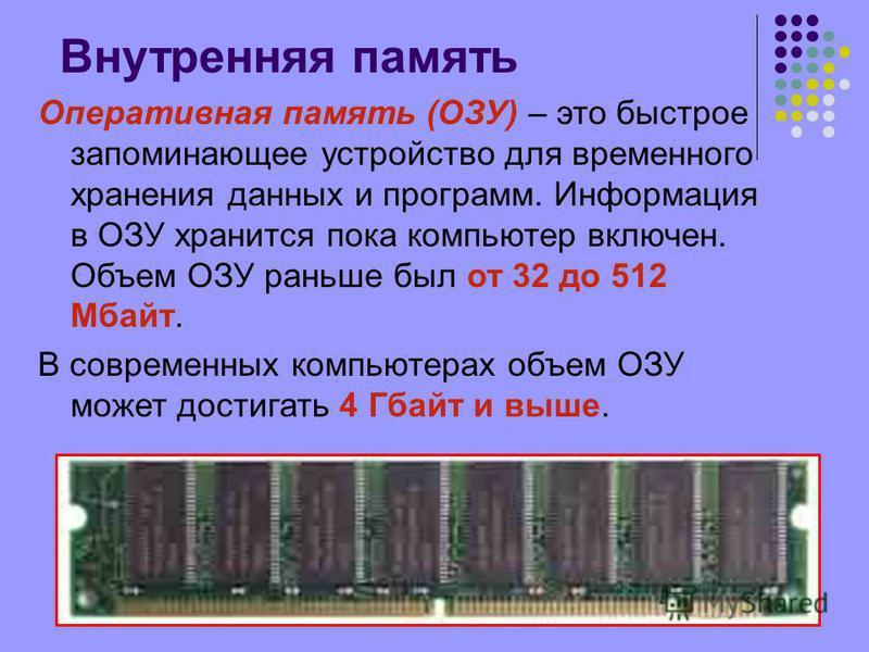 Внутренняя память Оперативная память (ОЗУ) – это быстрое запоминающее устройство для временного хранения данных и программ. Информация в ОЗУ хранится пока компьютер включен. Объем ОЗУ раньше был от 32 до 512 Мбайт. В современных компьютерах объем ОЗУ