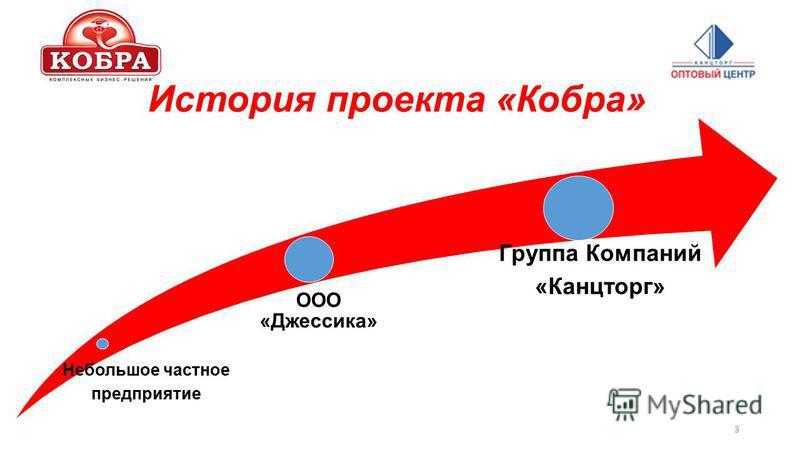 История проекта «Кобра» Небольшое частное предприятие ООО «Джессика» Группа Компаний «Канцторг» 3