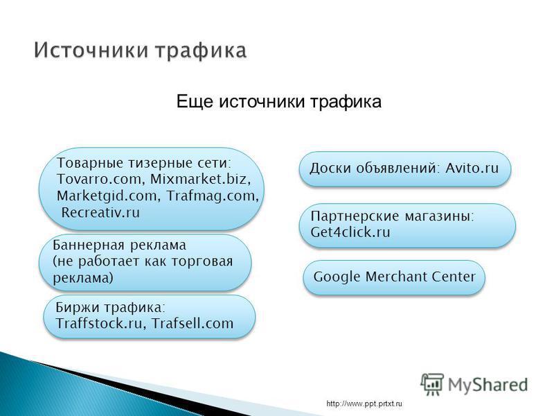 http://www.ppt.prtxt.ru Еще источники трафика Google Merchant Center Баннерная реклама (не работает как торговая реклама) Баннерная реклама (не работает как торговая реклама) Биржи трафика: Traffstock.ru, Trafsell.com Биржи трафика: Traffstock.ru, Tr