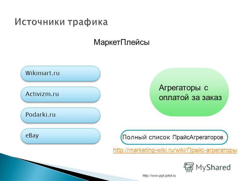 http://www.ppt.prtxt.ru Маркет Плейсы Activizm.ru Podarki.ru eBay Wikimart.ru Агрегаторы с оплатой за заказ http://marketing-wiki.ru/wiki/Прайс-агрегаторы Полный список Прайс Агрегаторов