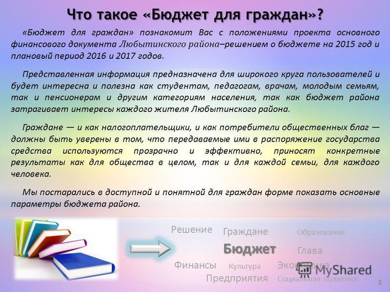 «Бюджет для граждан» познакомит Вас с положениями проекта основного финансового документа Любытинского района –решением о бюджете на 2015 год и плановый период 2016 и 2017 годов. Представленная информация предназначена для широкого круга пользователе