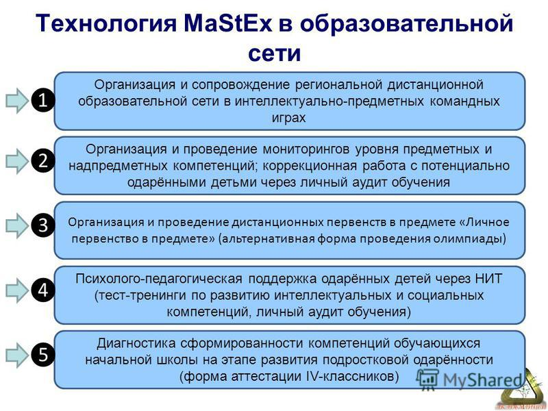 Технология MaStEx в образовательной сети Организация и сопровождение региональной дистанционной образовательной сети в интеллектуально-предметных командных играх Организация и проведение мониторингов уровня предметных и надпредметных компетенций; кор