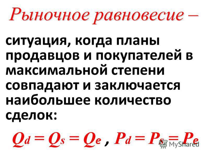 Рыночное равновесие – ситуация, когда планы продавцов и покупателей в максимальной степени совпадают и заключается наибольшее количество сделок: Q d = Q s = Q е, P d = P s = P е.