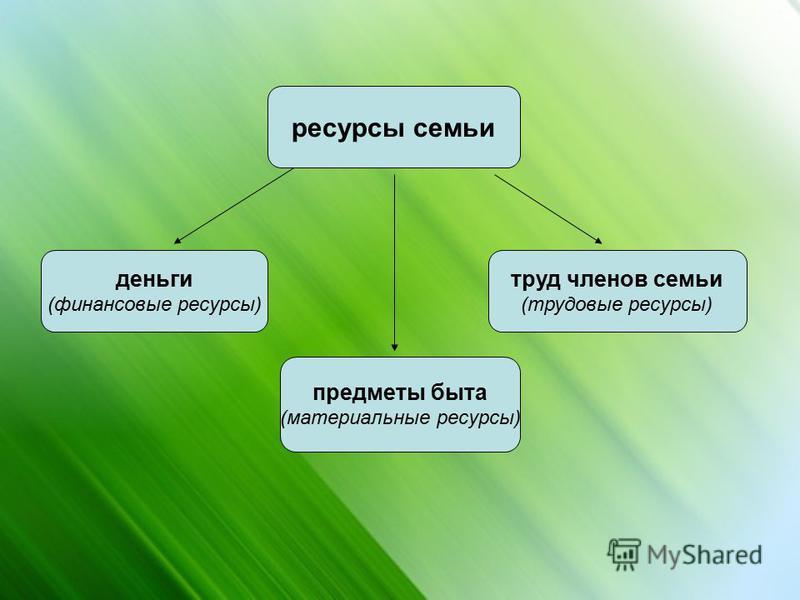 ресурсы семьи деньги (финансовые ресурсы) предметы быта (материальные ресурсы) труд членов семьи (трудовые ресурсы)