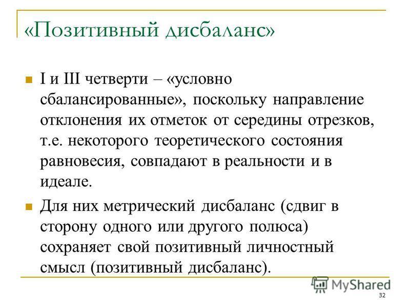 Высшая школа экономики, Москва, 2013 Вывод фото «Позитивный дисбаланс» I и III четверти – «условно сбалансированные», поскольку направление отклонения их отметок от середины отрезков, т.е. некоторого теоретического состояния равновесия, совпадают в р