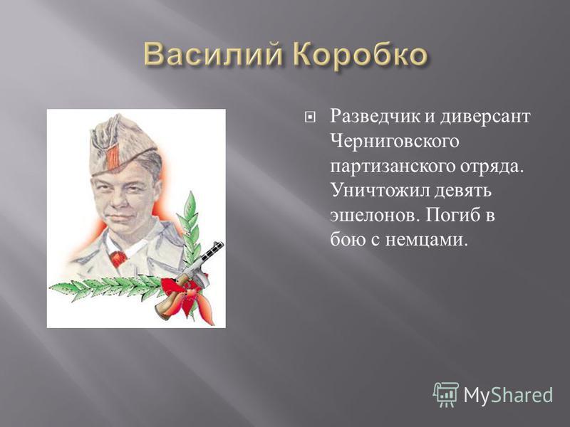 Разведчик и диверсант Черниговского партизанского отряда. Уничтожил девять эшелонов. Погиб в бою с немцами.