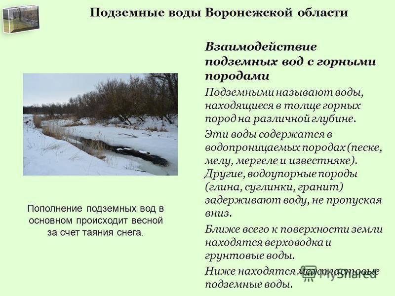 Подземные воды Воронежской области Взаимодействие подземных вод с горными породами Подземными называют воды, находящиеся в толще горных пород на различной глубине. Эти воды содержатся в водопроницаемых породах (песке, мелу, мергеле и известняке). Дру
