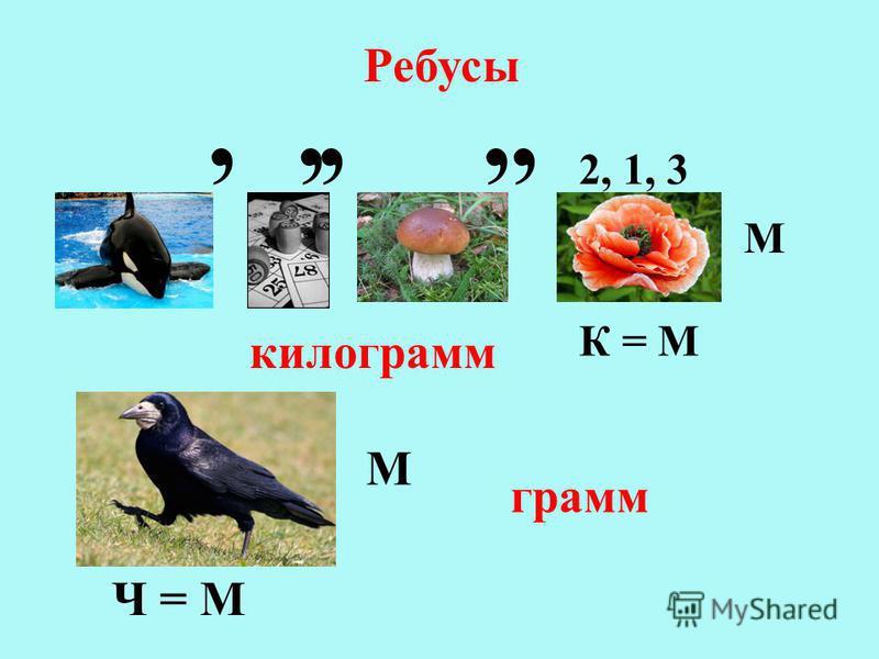 Ребусы,,,,, 2, 1, 3 К = М М килограмм Ч = М М грамм