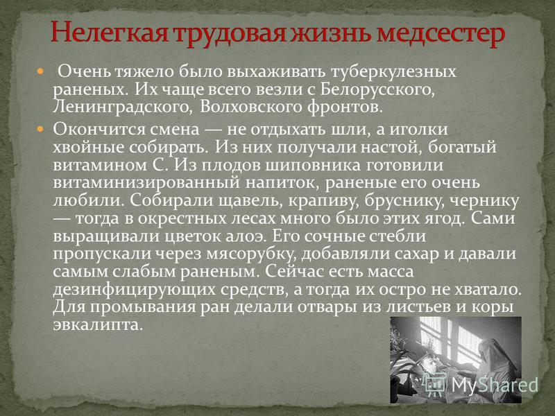 Очень тяжело было выхаживать туберкулезных раненых. Их чаще всего везли с Белорусского, Ленинградского, Волховского фронтов. Окончится смена не отдыхать шли, а иголки хвойные собирать. Из них получали настой, богатый витамином С. Из плодов шиповника