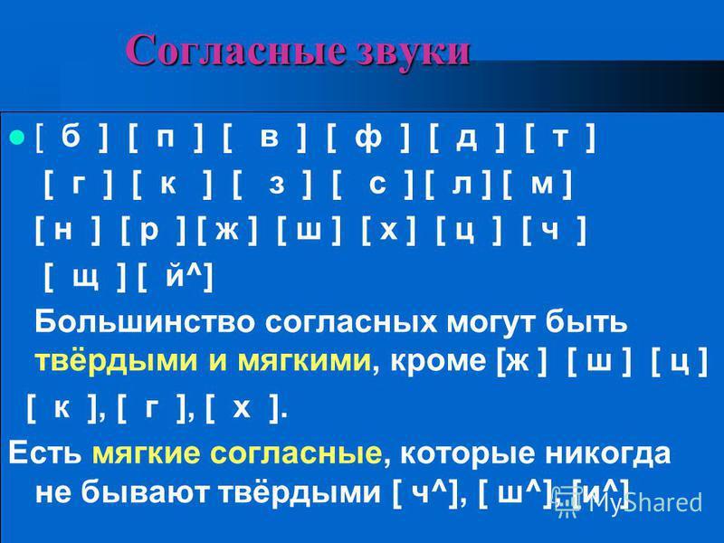 Соглавсные звуки [ б ] [ п ] [ в ] [ ф ] [ д ] [ т ] [ г ] [ к ] [ з ] [ с ] [ л ] [ м ] [ н ] [ р ] [ ж ] [ ш ] [ х ] [ ц ] [ ч ] [ щ ] [ й^] Большинство соглавсных могут быть твёрдыми и мягкими, кроме [ж ] [ ш ] [ ц ] [ к ], [ г ], [ х ]. Есть мягк