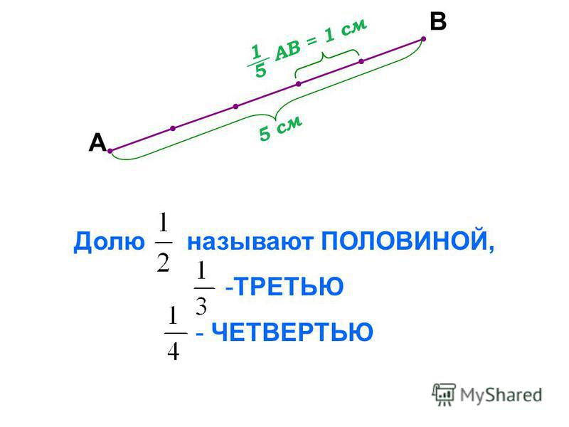 А В 5 см АВ = 1 см Долю называют ПОЛОВИНОЙ, -ТРЕТЬЮ - ЧЕТВЕРТЬЮ 1 5