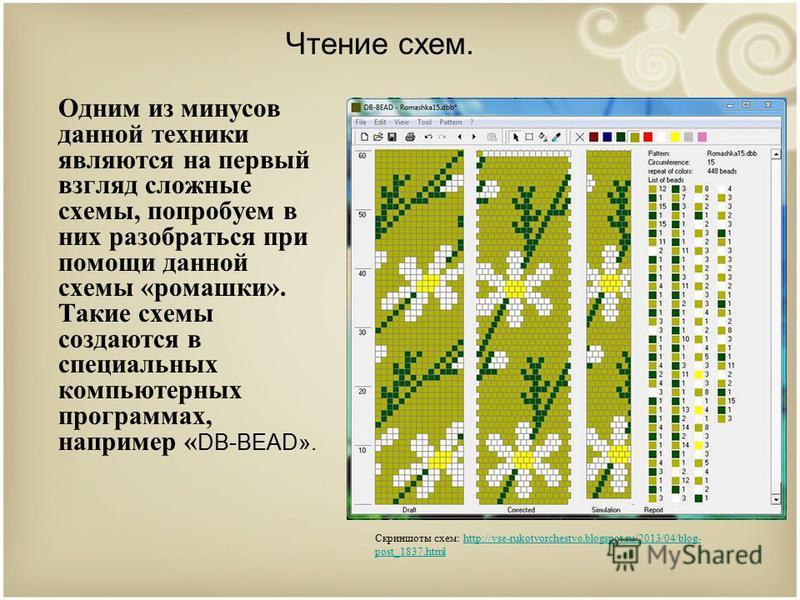 Чтение схем. Одним из минусов данной техники являются на первый взгляд сложные схемы, попробуем в них разобраться при помощи данной схемы «ромашки». Такие схемы создаются в специальных компьютерных программах, например « DB-BEAD». Скриншоты схем: htt
