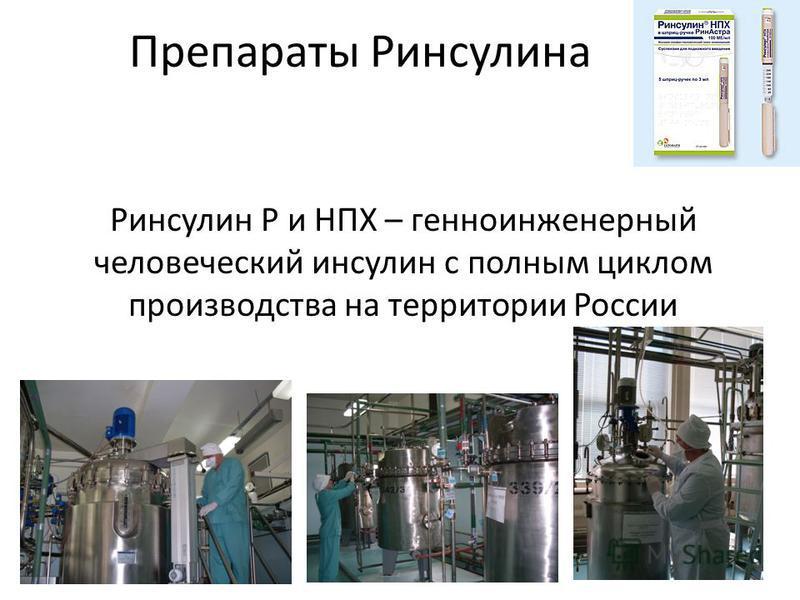 Препараты Ринсулина Ринсулин Р и НПХ – генно-инженерный человеческий инсулин с полным циклом производства на территории России