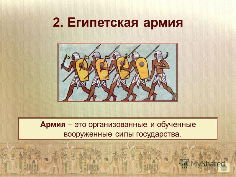 2. Египетская армия Армия – это организованные и обученные вооруженные силы государства.