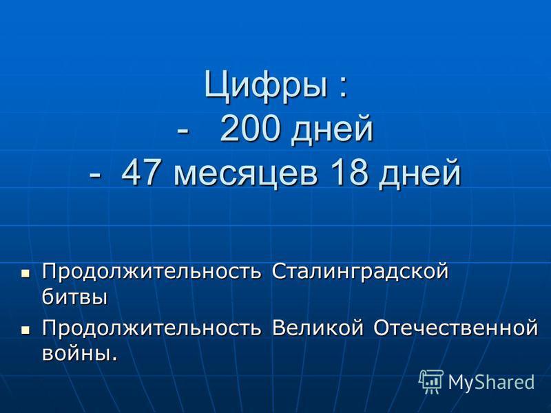 Цифры : - 200 дней - 47 месяцев 18 дней Продолжительность Сталинградской битвы Продолжительность Сталинградской битвы Продолжительность Великой Отечественной войны. Продолжительность Великой Отечественной войны.