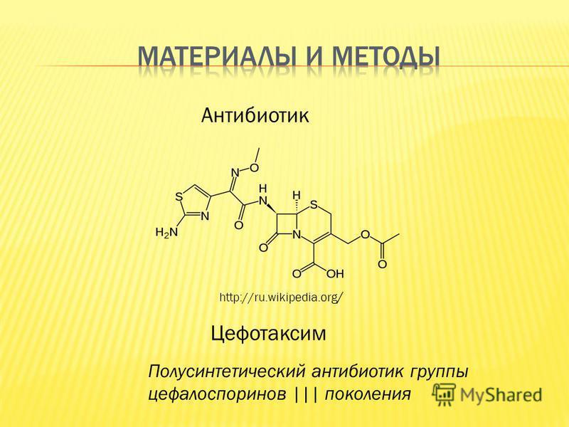 http://ru.wikipedia.org / Антибиотик Цефотаксим Полусинтетический антибиотик группы цефалоспоринов ||| поколения