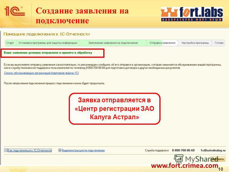 Создание заявления на подключение 10 Заявка отправляется в «Центр регистрации ЗАО Калуга Астрал» www.fort.crimea.com