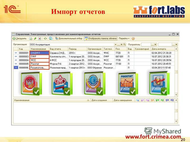 Импорт отчетов 20 www.fort.crimea.com