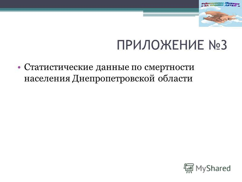 ПРИЛОЖЕНИЕ 3 Статистические данные по смертности населения Днепропетровской области