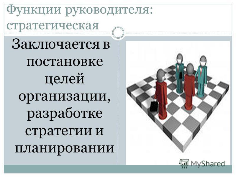 Функции руководителя: стратегическая Заключается в постановке целей организации, разработке стратегии и планировании