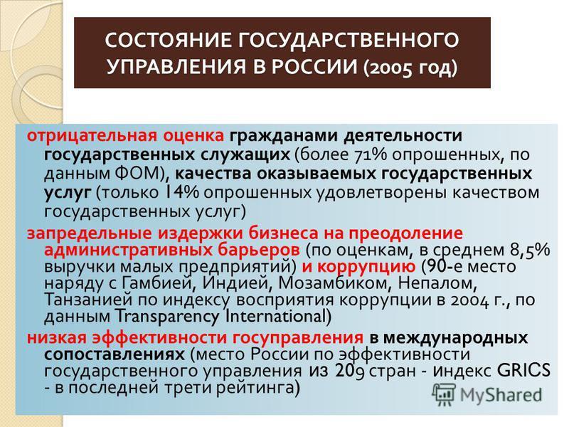 СОСТОЯНИЕ ГОСУДАРСТВЕННОГО УПРАВЛЕНИЯ В РОССИИ (2005 год ) отрицательная оценка гражданами деятельности государственных служащих ( более 71% опрошенных, по данным ФОМ ), качества оказываемых государственных услуг ( только 14% опрошенных удовлетворены