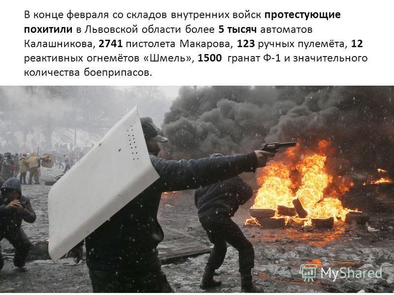 В конце февраля со складов внутренних войск протестующие похитили в Львовской области более 5 тысяч автоматов Калашникова, 2741 пистолета Макарова, 123 ручных пулемёта, 12 реактивных огнемётов «Шмель», 1500 гранат Ф-1 и значительного количества боепр