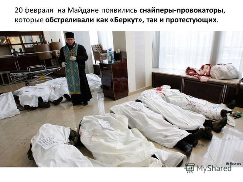 20 февраля на Майдане появились снайперы-провокаторы, которые обстреливали как «Беркут», так и протестующих.