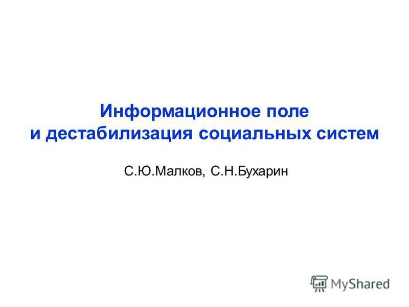 Информационное поле и дестабилизация социальных систем С.Ю.Малков, С.Н.Бухарин