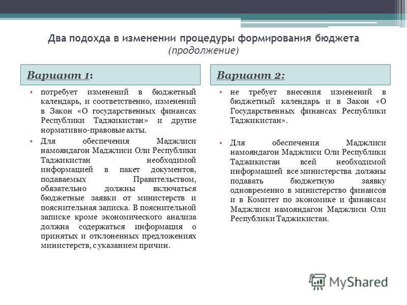 Два подхода в изменении процедуры формирования бюджета (продолжение) Вариант 1:Вариант 2: потребует изменений в бюджетный календарь, и соответственно, изменений в Закон «О государственных финансах Республики Таджикистан» и другие нормативно-правовые