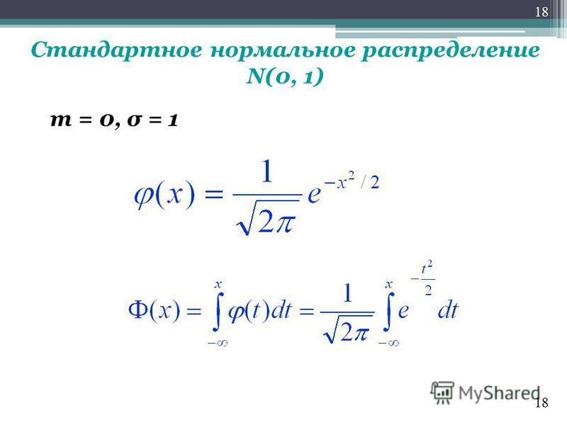 Стандартное нормальное распределение N(0, 1) m = 0, σ = 1 18