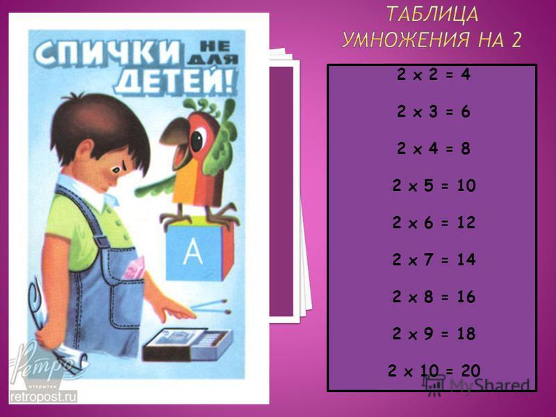 2 х 2 = 4 2 х 3 = 6 2 х 4 = 8 2 х 5 = 10 2 х 6 = 12 2 х 7 = 14 2 х 8 = 16 2 х 9 = 18 2 х 10 = 20