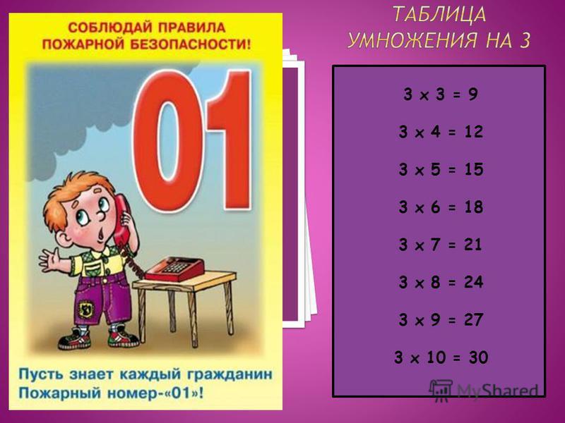 3 х 3 = 9 3 х 4 = 12 3 х 5 = 15 3 х 6 = 18 3 х 7 = 21 3 х 8 = 24 3 х 9 = 27 3 х 10 = 30