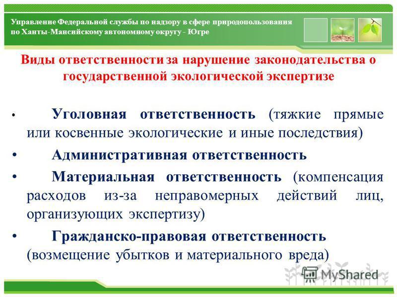 www.themegallery.com Управление Федеральной службы по надзору в сфере природопользования по Ханты-Мансийскому автономному округу - Югре Виды ответственности за нарушение законодательства о государственной экологической экспертизе законодательства Рос