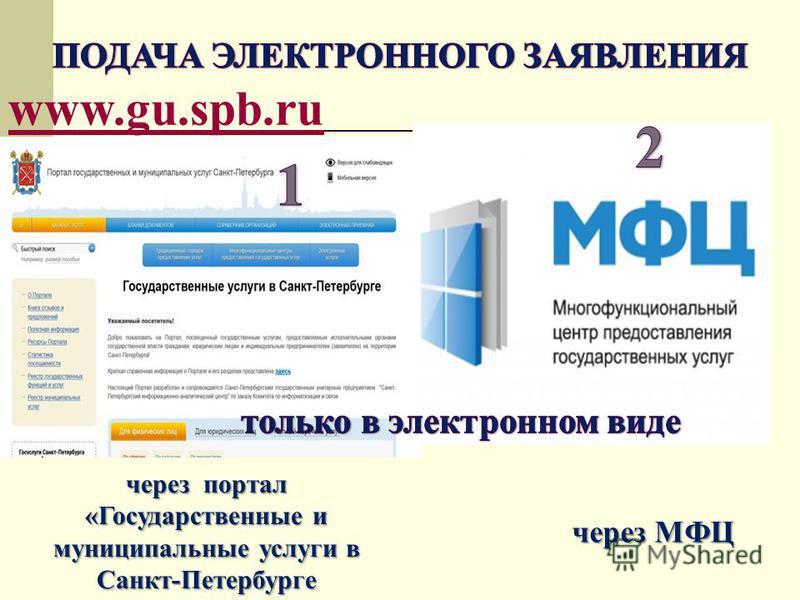 через портал «Государственные и муниципальные услуги в Санкт-Петербурге через МФЦ www.gu.spb.ru